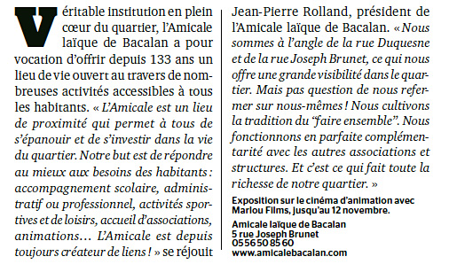 Bordeaux Magazine - Novembre 2014 - Article